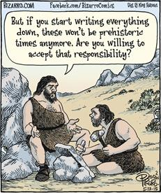 Bizarro Cave Men Writing